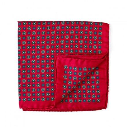 Pochette Costume rouge soie medaillon