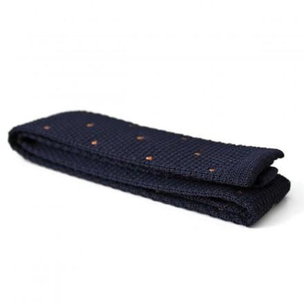 Knit Tie navy polka dots