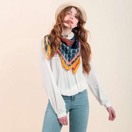 Cotton Silk Scarf - The Birdwhistle 100x100cm