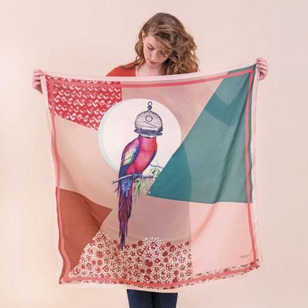 Cotton Silk Scarf - The Parrocage 100x100cm