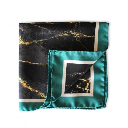 Pocket Square - Black Marble