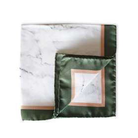 Pocket Square - White Marble