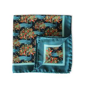 Pocket Square - Turquoise Peacocks