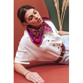 Cotton Veil Scarf - Libellules - Purple 70x70cm