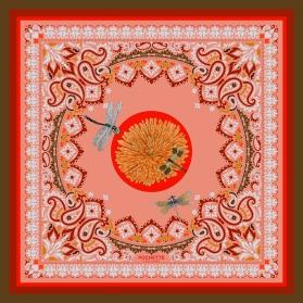 Cotton Veil Scarf - Libellules - Pink 70x70cm