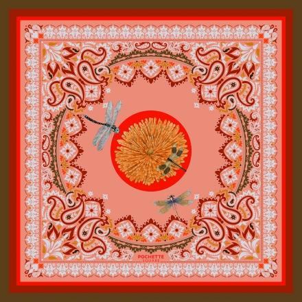 No 21 Square scarf in cotton veil 70 x 70 cm
