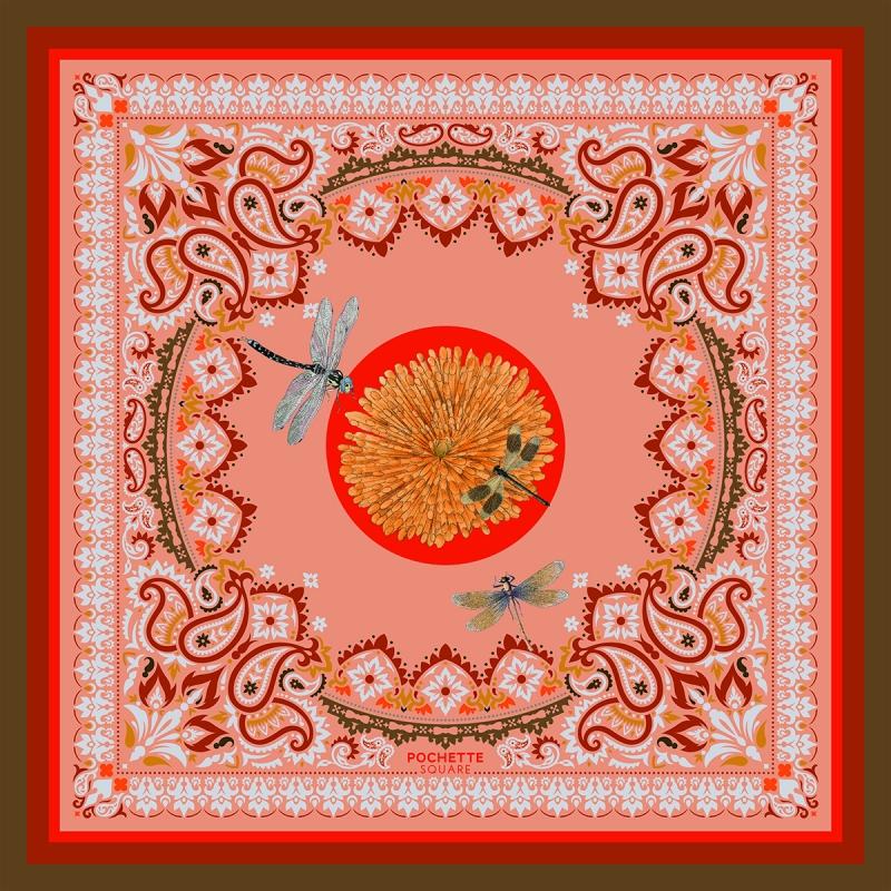 Silk Scarf - Libellules - Rose 70x70 cm