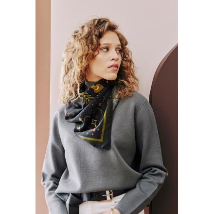 Foulard en Laine Épaisse - Serpent - Noir 70x70cm