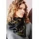 Cotton Veil Scarf - Serpent - Noir 70x70cm