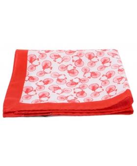 Pochette Costume Coton Blanc Rouge Figuratif