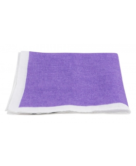 Purple Linen Pocket Square White Contrast edge
