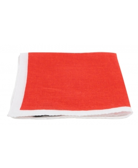 Red Linen Pocket Square White Contrast Edge