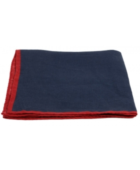 Navy Blue Linen Pocket Square Tipped Red Contrast Edge