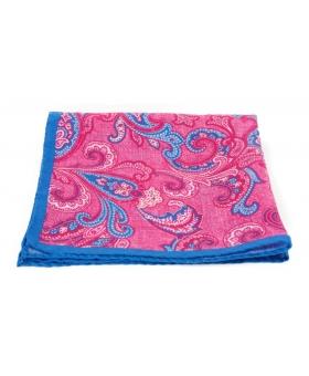 Pochette Costume Lin Rose Liseré Bleu Paisleys
