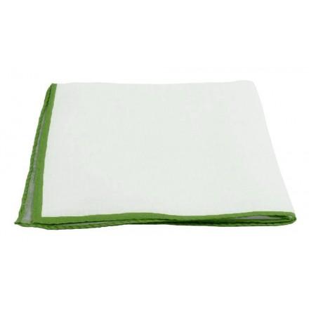 Pochette Costume Lin Blanc Liseré Vert