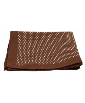 Brown Cotton Pocket Square Polka Dots