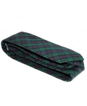 Handmade Cotton Tie Bue Green Tartan Pattern