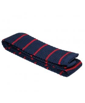 Cravate Tricot Soie Bleu Rayée Rouge