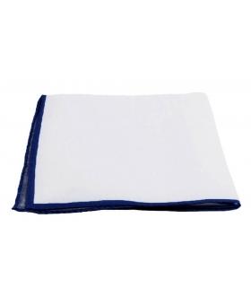 Pochette Costume Lin Blanc Liseré Bleu Marine