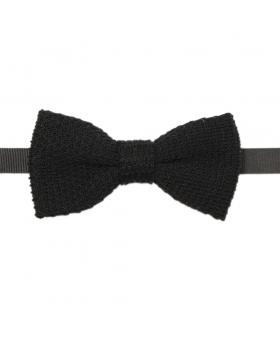 Noeud Papillon Tricot Uni Noir Coton