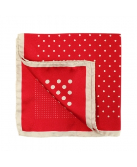 4 in 1 Red Silk Pocket square Polka Dots