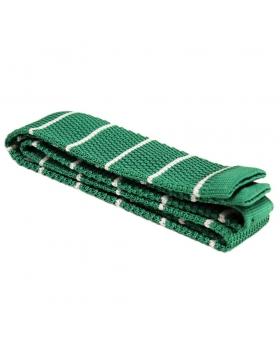 Tricot de soie fond vert rayures blanches