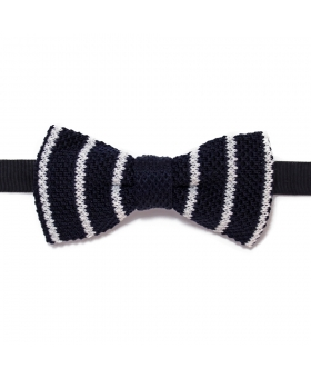 Navy Blue Knit Bow Tie Striped White