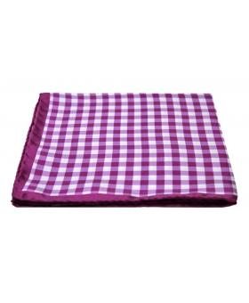 Pochette Costume Soie Carreaux Violet