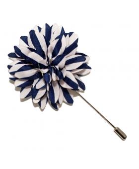 Boutonniere Fleur Raye Bleu Blanc