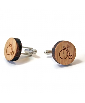 Cufflinks - Wood - Bicycle