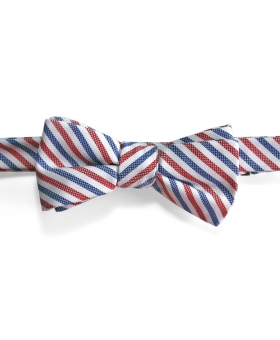 Handmade Blue White Red Striped Cotton Bow Tie