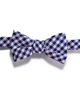 Handmade Blue and White Cotton Bow Tie