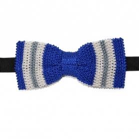 noeud papillon en tricot de soie bleu fabriqu en italie. Black Bedroom Furniture Sets. Home Design Ideas