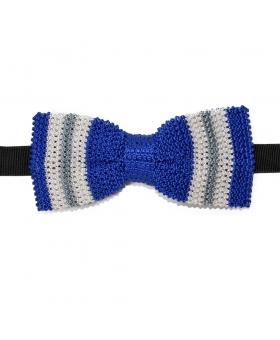 Blue Silk Knit Bow Tie Grey White Striped