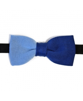 Blue Two Coloured Knitted Cotton Bow Tie