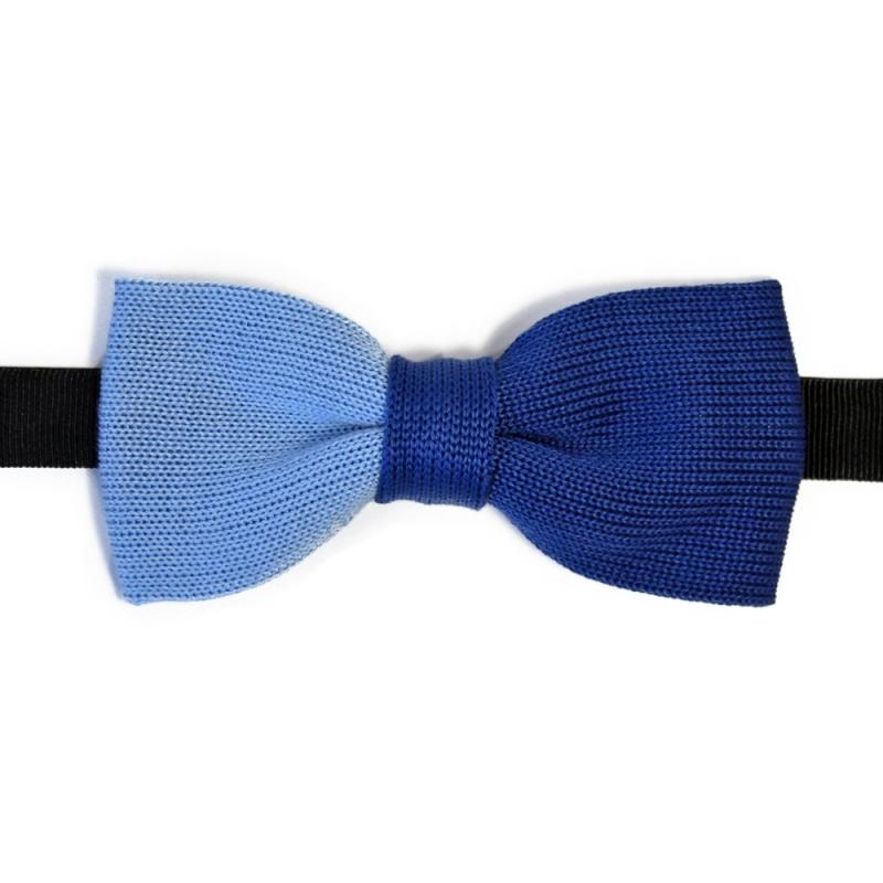noeud papillon bleu bicolore en tricot de coton fabriqu en italie. Black Bedroom Furniture Sets. Home Design Ideas