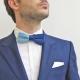 Noeud Papillon Tricot Coton Bleu Bicolore