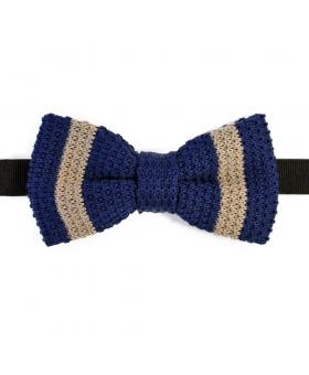 Blue Cotton Knit Bow Tie Striped Beige