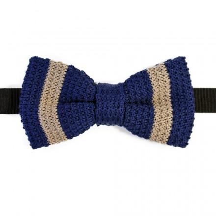 noeud papillon en tricot de coton bleu ray beige fabriqu en italie. Black Bedroom Furniture Sets. Home Design Ideas