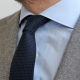 Cravate Coton Bleu Marine Pois Blancs Made in France