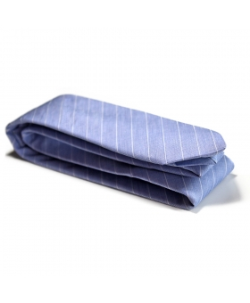Cravate Coton Bleue Made in France.