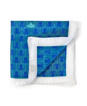 Pochette Costume Soie Bleu Turquoise Motifs Marins