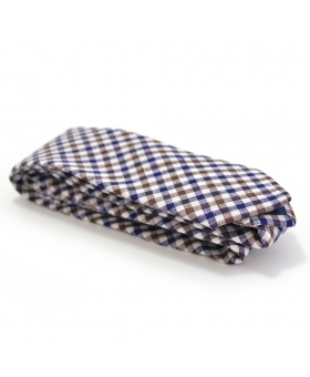 Handmade Linen Tie Blue Brown Checks