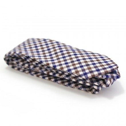 Cravate Lin Carreaux Bleu Marron Made in France
