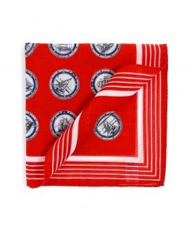 Pochette Costume Rouge Coton Motifs Marins