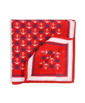 Red Cotton Pocket Square Nautical Pattern