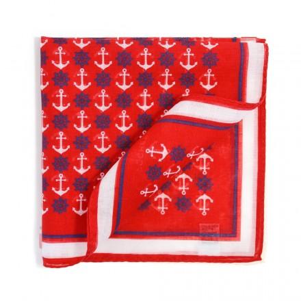 Pochette Costume Coton Rouge Motifs Marins