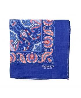 Pochette Costume Bleue Lin Paisleys Rose