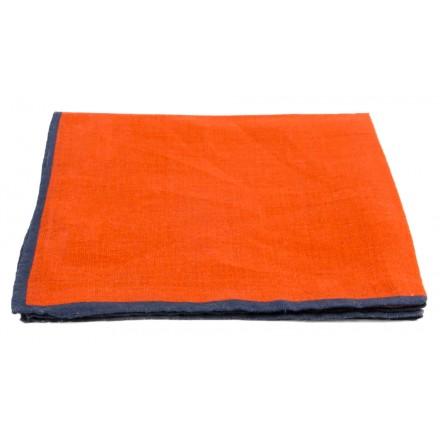 Pochette Costume Lin Orange Liseré Bleu Marine