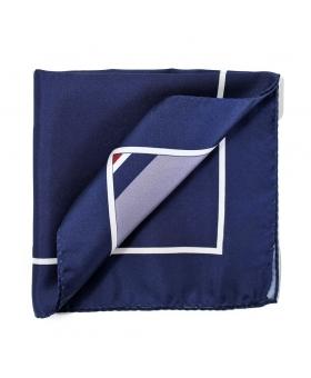 Pochette Costume Soie Bleu Marine 4 en 1
